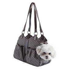 Metro Dog Carrier by PETote - Reverse Noir Dots and Espresso