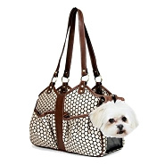 Metro Classic Italian Leather Dog Carrier by PETote - Noir Dots and Toffee
