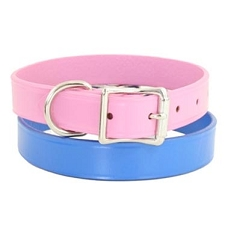 Metro Leather Dog Collars - Peony Pink, Royal Blue