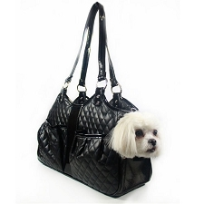 Metro Quilted Luxe Dog Carrier by PETote- Black