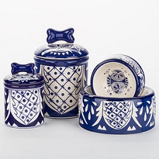 Mexican Ceramic Dog Bowls and Treat Jars