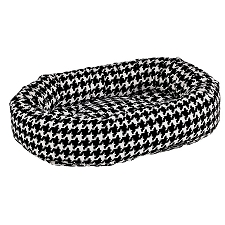 Microvelvet Donut Dog Bed - Ascot Houndstooth