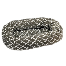 Microvelvet Donut Dog Bed - Graphite Lattice
