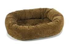 Microvelvet Donut Dog Bed- Pecan Filigree