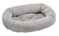 Microvelvet Donut Dog Bed- Silver Treats