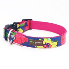 Rosey Laminated Cotton Dog Collar