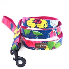 Rosey Laminated Cotton Dog Leash