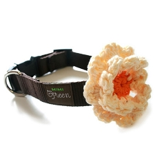Crochet Flower Dog Collar - Chocolate and Orange