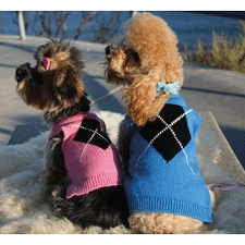 Mindy Argyle Diamond Cashmere Blend Dog Sweater - Pink and Blue