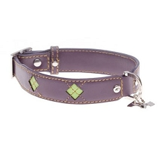 Purple Miranda Argyle Leather Dog Collar
