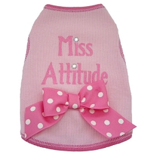 'Miss Attitude' Pink Bow Dog Shirt