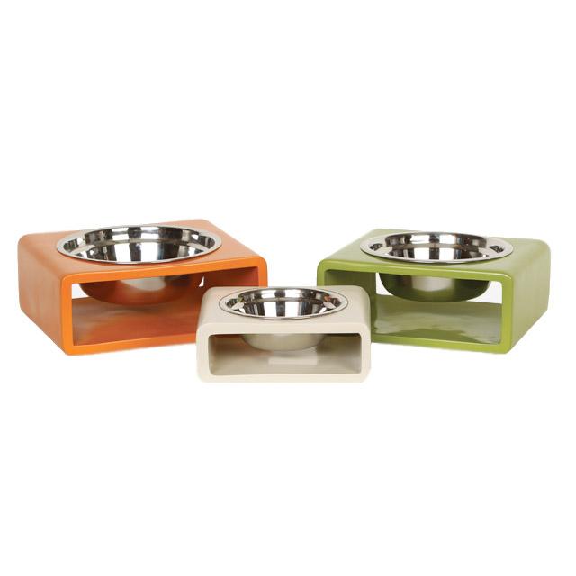 home u003e bowls feeders u003e modern form single raised dog feeders