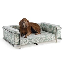 Moderno Silver Frame Microvelvet Dog Bed- 35 Color Options