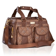 Mon Ami Quilted Dog Carrier - Brown