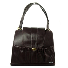 Natalia Pleather Dog Carrier Purse - Espresso