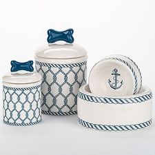 Nautical Ceramic Dog Bowls and Treat Jars