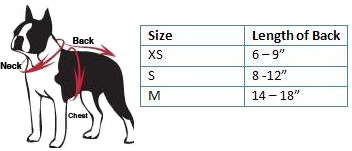 NFL Dog Gear Size Chart
