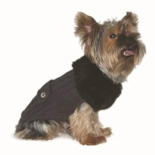 Sweetie Cable Knit Fur Trim Dog Sweater Coat - Grey