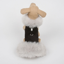 Nouveau Bow Dog Coat with Silver Fox Fur- Black