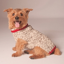 Oatmeal Cable Knit Dog Sweater with Red Trim