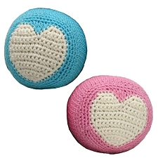 Organic Crochet Squeaker Ball Dog Toy- Pink and Blue