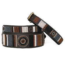 Handmade African Beaded Brown Leather Dog Collar - Oryx