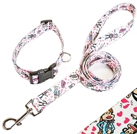 White Hearts Love Triangle Dog Collar & Leash by Paul Frank