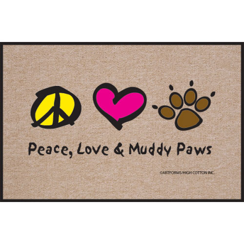 Peace Love Amp Muddy Paws Doormat Cute Dog Gifts At