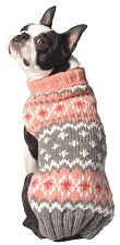 Peach Fairisle Dog Sweater