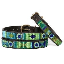Handmade African Beaded Leather Dog Collar- Peacock