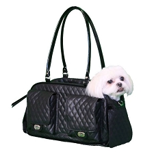 Marlee Quilted Dog Carrier by PETote- Black