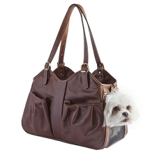 Metro Italian Leather Dog Carrier by PETote - Toffee