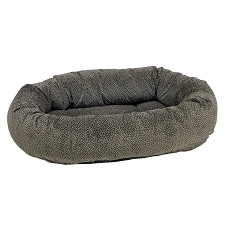 Microvelvet Donut Dog Bed - Pewter Bones