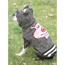 Charcoal Piggy Dog Sweater with Ears