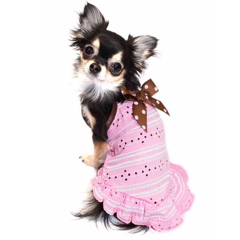Pink Eyelet Bow Dog Dress Luxury Dog Clothes At