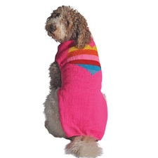 Pink Heart Wool Dog Sweater
