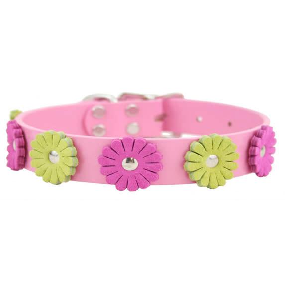 Auburn Leather Flower Dog Collar Pink