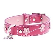 Pink Libby Floral Leather Dog Collar