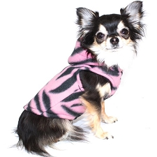 Polar Fleece Dog Hoodie - Pink Tigress