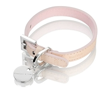 Vachetta Italian Patina Leather Dog Collar - Pink/Natural