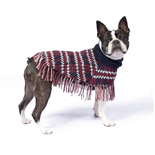 Plaid Alpaca Dog Poncho- Blue