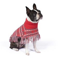 Plaid Alpaca Dog Poncho- Coral