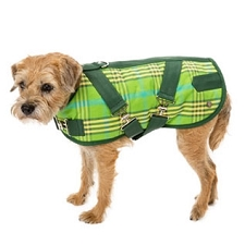 Plaid Horse Blanket Dog Coat- Green