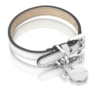 Polo Leather Dog Collar - Black/White