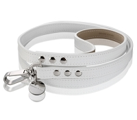 Polo Perforated Italian Leather Dog Leash - White