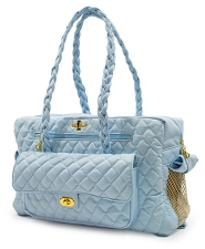 Porsha Quilted Dog Carrier- Baby Blue