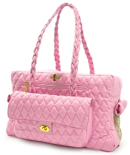 Porsha Quilted Dog Carrier- Baby Pink