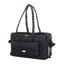 Porsha Quilted Dog Carrier- Black
