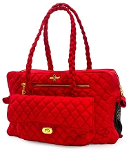 Porsha Quilted Dog Carrier- Red