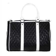 Quilted JL Duffel Dog Carrier- Black and White